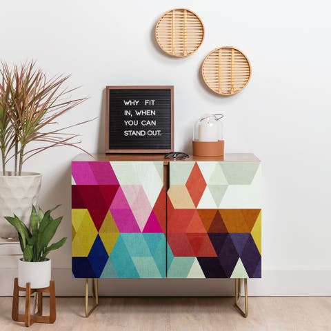 Deny Designs Modele 7 Geometric Credenza (Birch or Walnut, 3 Leg Options)