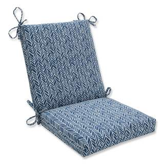 Pillow Perfect Outdoor/ Indoor Herringbone Ink Blue Squared Corners Chair Cushion