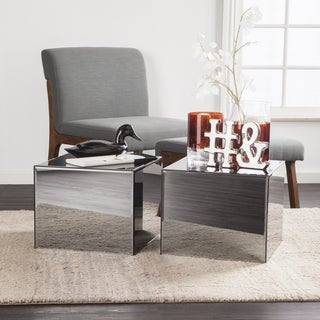 Holly & Martin Echo Smoky Mirrored Side Tables - 2pc Set