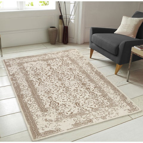Irina Pattern Ivory Chenille Area Rug with Carpet Back - 7'3 x 9'3