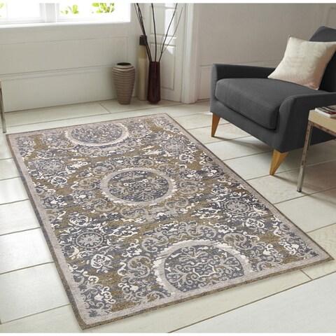 Sunburst Pattern Chenille Area Rug with Carpet Back - 7'3 x 9'3
