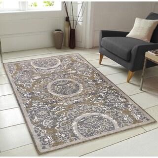Sunburst Pattern Chenille Area Rug with Carpet Back - 7' x 9'