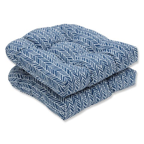 Pillow Perfect Outdoor/ Indoor Herringbone Ink Blue Wicker Seat Cushion (Set of 2)