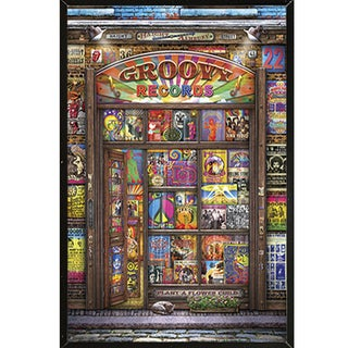 'Groovy Records' 24-inch x 36-inch Print with Black Plaque/Woodmount