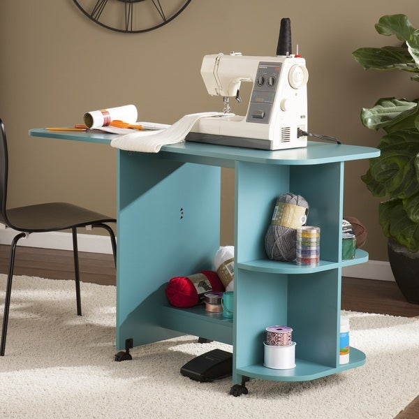 SEI Furniture Eastwick Expandable Rolling Sewing Table/Craft Station - Turquoise. Opens flyout.