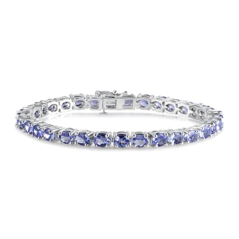 Divina Silver overlay 11 1/2ct T.G.W Oval Tanzanite gemstone Tennis Bracelet.(I-J,I2-I3).