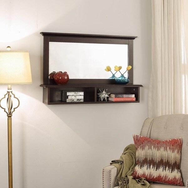 shop briarwood home decor espresso wood 24 inch x 36 inch mirror and rh overstock com