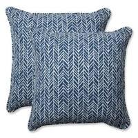 Pillow Perfect Outdoor/ Indoor Herringbone Ink Blue 18.5-inch Throw Pillow (Set of 2)