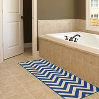 Anne Collection Chevron Yellow/Ivory/Grey/Blue Non-Slip Runner Rug (2-feet 2-inches x 6-feet 0-inches)