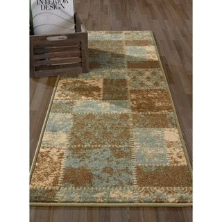 Anne Collection Multicolored Polypropylene Damask Patchwork Runner Rug (2'2 x 6'0)
