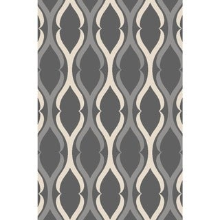 Anne Collection Teal/Grey Moroccan Trellis Nonslip Runner Rug (22 x 6) - 22 x 7 (Grey)