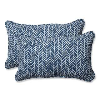 Pillow Perfect Outdoor/ Indoor Herringbone Ink Blue Rectangular Throw Pillow (Set of 2)