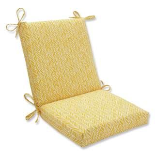 Pillow Perfect Outdoor/ Indoor Herringbone Egg Yolk Squared Corners Chair Cushion