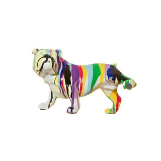 "Interior Illusions Plus Graffiti Bull Dog with Leg Up - 10"" long"
