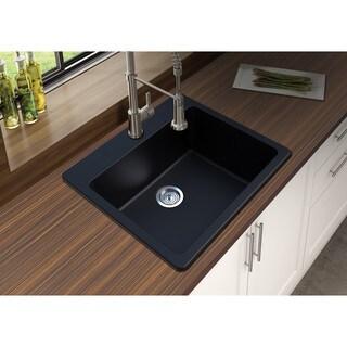 "Winpro Black Granite Quartz 25 x 22"" x 9-1/2 Single Bowl Dual Mount Sink"