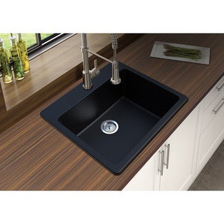 "Winpro Black Granite Quartz 25 x 22"" x 9-1/2 Single Bowl Dual Mount Sink"
