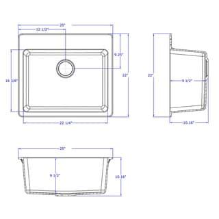 "Winpro Granite Quartz 25 x 22"" x 9-1/2 Single Bowl Dual Mount Sink"