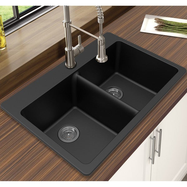 "Dark Kitchen Sinks: Shop Winpro Black Granite Quartz 33 X 22"" X 9-1/2 Equal Double Bowl Dual Mount Sink"