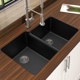 "Winpro Black Granite Quartz 33 x 22"" x 9-1/2 Offset Double Bowl Undermount Sink"