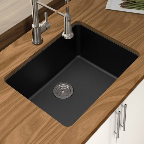 "Winpro Black Granite Quartz 25 x 18-1/2"" x 9-1/2 Single Bowl Undermount Sink"