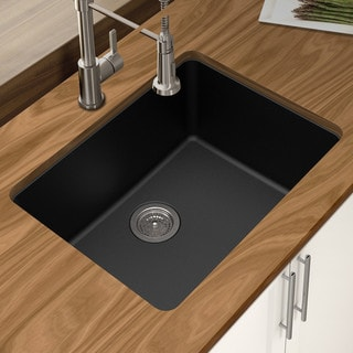 "Winpro Black Granite Quartz 25 x 18-1/2"" x 9-1/2 Single Bowl Undermount Sink"