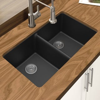 "Winpro Black Granite Quartz 33 x 18-3/4"" x 9-1/2 Equal Double Bowl Undermount Sink"