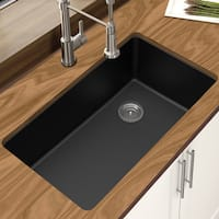 "Winpro Black Granite Quartz 33 x 18-3/4"" x 9-1/2 Single Bowl Undermount Sink"