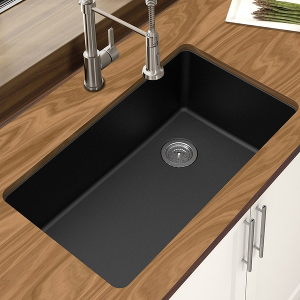 granite kitchen sinks reviews shop winpro black granite quartz 33 x 18 3 4 quot x 9 1 2 3894