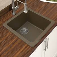 "Winpro Mocha Granite Quartz 16.644x 16.644""x 8 Single Bowl Dual Mount Bar Sink"