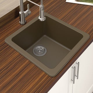 "Link to Winpro Mocha Granite Quartz 16.644x 16.644""x 8 Single Bowl Dual Mount Bar Sink Similar Items in Sinks"