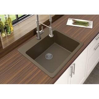 "Winpro Mocha Granite Quartz 25 x 22"" x 9-1/2 Single Bowl Dual Mount Sink"