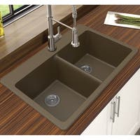 "Winpro Mocha Granite Quartz 33 x 22"" x 9-1/2 Equal Double Bowl Dual Mount Sink"