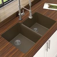 "Winpro Mocha Granite Quartz 33 x 22"" x 9-1/2 Offset Double Bowl Undermount Sink"