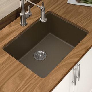 "Winpro Mocha Granite Quartz 25 x 18-1/2"" x 9-1/2 Single Bowl Undermount Sink"