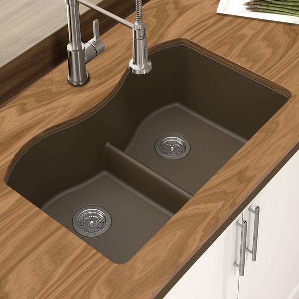 Winpro Mocha Granite Quartz 33 x 22 x 10-inch Double Equal Bowl Undermount Sink with Aqua Divide