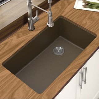 "Winpro Mocha Granite Quartz 33 x 18-3/4"" x 9-1/2 Single Bowl Undermount Sink"