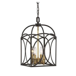Talbot 4-Light English Bronze and Warm Brass Foyer