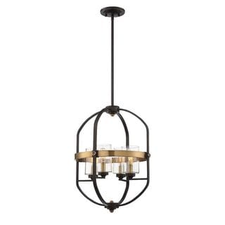 Kirkland 4-Light English Bronze and Warm Brass Foyer with Clear Glass