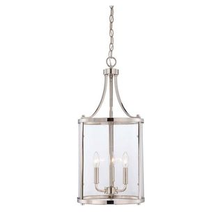 Penrose 3-Light Polished Nickel Foyer with Clear Glass