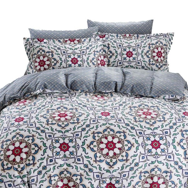 Dolce Mela Lanzarote 6-piece Cotton Duvet Cover Bedding Set with Fitted Sheet
