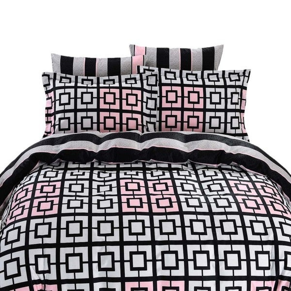 Dolce Mela Majorca 6-piece Cotton Duvet Cover Bedding Set with Fitted Sheet