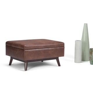 Shop By Cast Leather Flip Top Storage Bench Ottoman