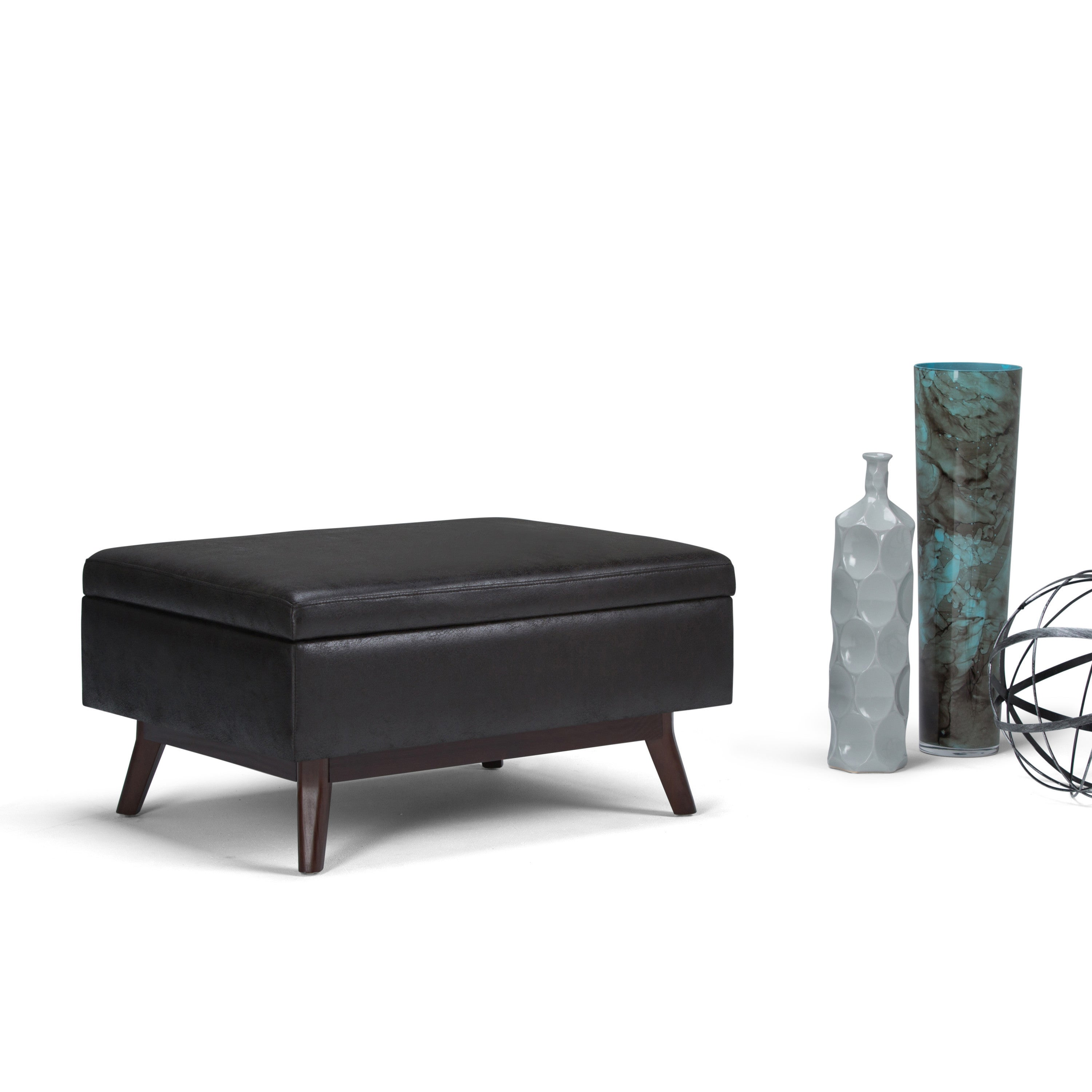 Mid Century Modern Coffee Table With Storage: WYNDENHALL Ethan Mid Century Coffee Table Ottoman With