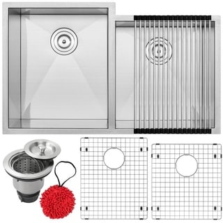 Ticor S3560-KIT Stainless Steel 16-gauge Double Bowl Undermount Square Kitchen Sink with Zero Radius Corners