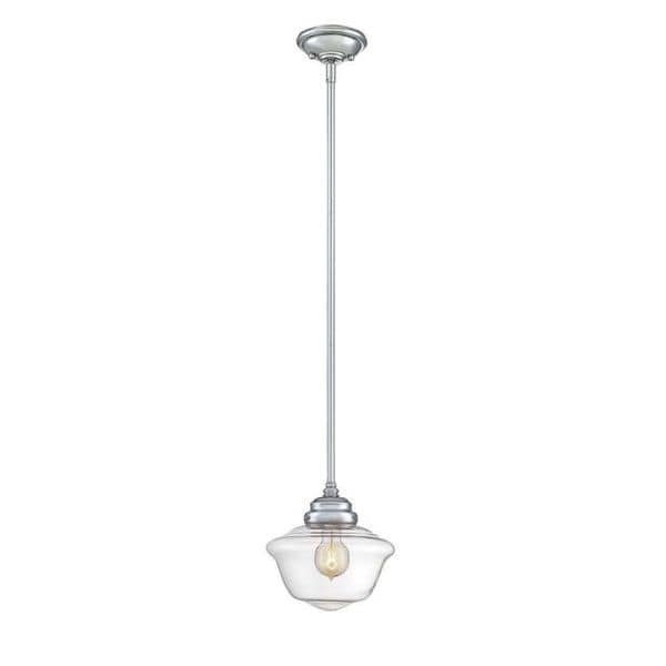 School House 1 Light Polished Chrome Mini Pendant With Clear Gl