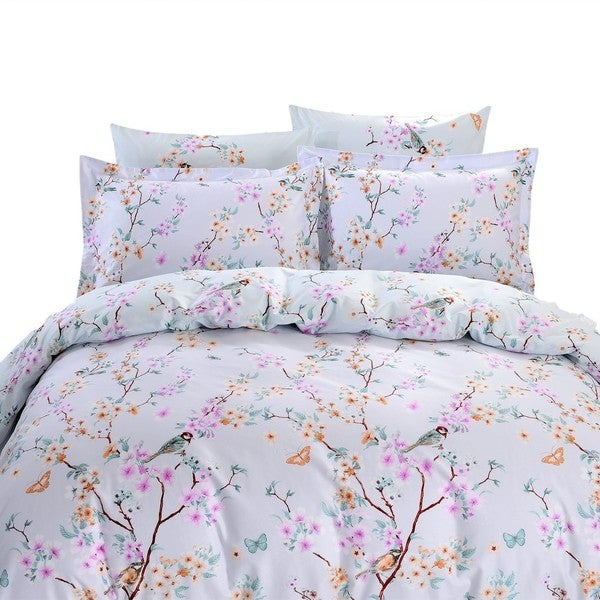 Dolce Mela Sifnos 6-piece Cotton Duvet Cover Bedding Set with Fitted Sheet
