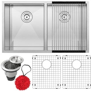 Ticor S3550-KIT Stainless Steel Double Equal Bowl Undermount Square Kitchen Sink
