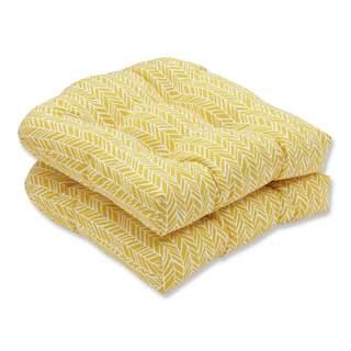 Pillow Perfect Outdoor/ Indoor Herringbone Egg Yolk Wicker Seat Cushion (Set of 2)