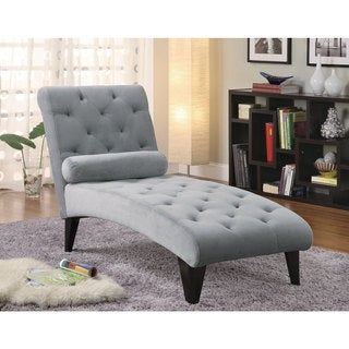 Velour Grey Chaise Lounge Chair  sc 1 st  Overstock : chaise lounger chair - Sectionals, Sofas & Couches
