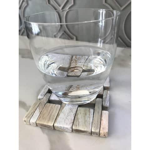 Handmade White Washed Rosewood Coaster (Set of 4)